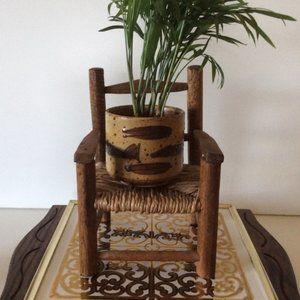 Boho Vintage Miniature Wooden Chair Wicker Seat